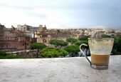 Beautiful View Of Rome And Cup With Café Latte