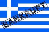 Greek Flag Bankrupt Stamp