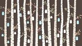 Vector Birch or Aspen Trees with Hanging Mason Jars and Love Birds