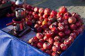 Pomegranate Juice Seller Bench Closeup