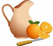 Clay jug with oranges