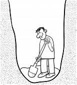 Digging Man Cartoon Coloring Page