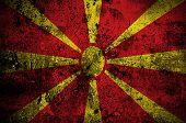 Grunge Flag Of Macedonia With Capital In Skopje