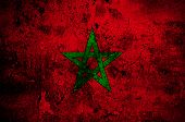 Grunge Flag Of Morocco With Capital In Rabat