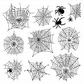 Set Of 10 Different Spiderwebs And Spiders On White Background