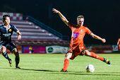 Sisaket Thailand-september 21: Brent Mcgrath Of Sisaket Fc. Shooting Ball During Friendly Match Betw