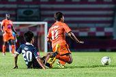 Sisaket Thailand-september 21: Eakkapan Nuikhao Of Sisaket Fc. (orange) In Action During Friendly Ma