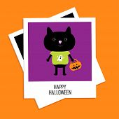 Instant Photo With Black Cat And Trick Or Treat Pumpkin Bucket. Happy Halloween Card. Flat Design.