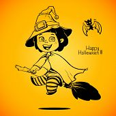 Baby Dressed in a Halloween Witch Costume. Trick or Treat. Halloween girl
