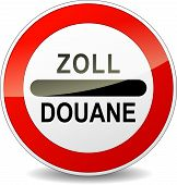 picture of smuggling  - French translation for zoll customs round red sign - JPG
