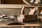 image of wood craft  - vintage tools like wood planer and drill - JPG