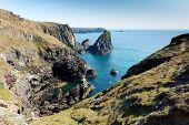 Kynance Cove The Lizard Cornwall England UK beautiful sunny summer day with blue sea