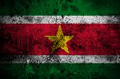 pic of suriname  - grunge flag of Suriname with capital in Paramaribo - JPG