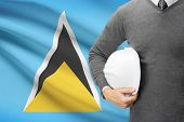 Architect With Flag On Background  - Saint Lucia