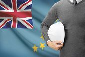 Architect With Flag On Background  - Tuvalu