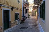 A Narrow Street Of The Greek City Of Lefkada