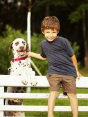 little cute boy with dalmatian dog