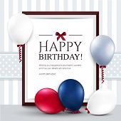picture of helium  - Vector birthday card with balloons and frame - JPG