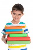 Laughing Young Boy With Books