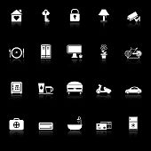 General Home Stay Icons With Reflect On Black Background