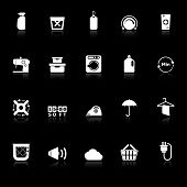 Laundry Icons With Reflect On Black Background