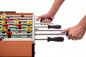 Close-up table game of soccer or foosball