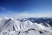 Winter Snowy Mountains. Panoramic View