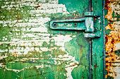 Rusty Metal Door With Hinge Cracked Paint