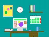 Flat Design Vector Illustration Of Modern Office Interior With Designer Desktop Showing Design Appli