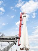 Space Rocket  Stands Vertically