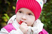 Autumn Portrait Of Cute Little Girl