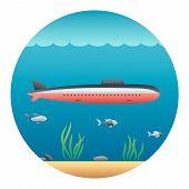 Submarine Detailed Illustration