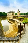 Chateau De Chenonceau Unesco Medieval French Castle, Garden And River. Loire, France