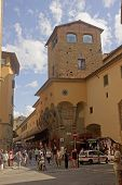 Florence, Italy - August 16, 2014: Tourists On Ponte Vecchio Bri