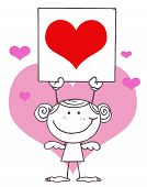 Girl Stick Cupid Holding A Red Heart Sign