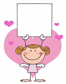 Female Stick Cupid Holding A Blank Sign