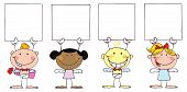 Cute Stick Cupids Holding Blank Signs