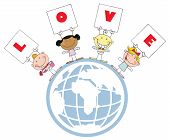 Cute Stick Cupids Holding LOVE Signs On A Globe