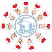 Cute Stick Cupids Holding Heart Signs Around A Globe