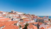 Panoramic View Of The Alfama District In Lisbon