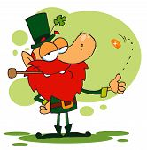 Happy Leprechaun Smoking A Pipe And Flipping A Gold Coin