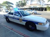 Honolulu Police Department Police Car Lights Flash On Ala Moana Boulevard