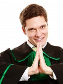 Law. Man Lawyer In Polish Gown Showing Thanks Gesture