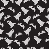 Halloween Ghost Seamless Pattern On A Dark Background
