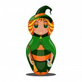pic of sweeper  - Nested doll in a suit of the witch a Halloween in a green raincoat with a sweeper and a potion in hands - JPG