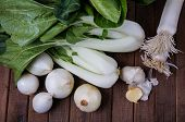 Pok Choy Leeks, Onion, Broccoli And Garllic