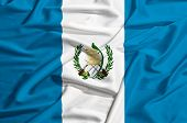 Guatemala Flag On A Silk Drape Waving