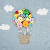 Hot Air Balloon Made Of Multicolored Buttons1