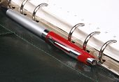 Red Pen Lying On A Green Leather Organizer