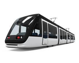 foto of tram  - Modern Tram isolated on white background - JPG